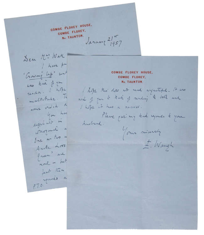 62Waugh (Evelyn) Autograph Letter signed to Mrs [Bernard] Wall