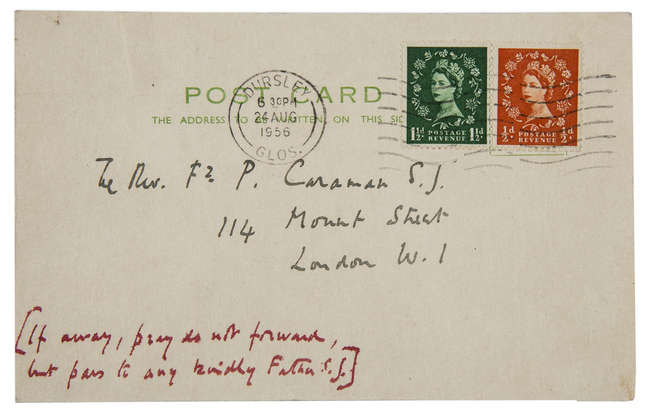 """59Waugh (Evelyn) Autograph Postcard initialled """"E"""" to Father Philip Caraman"""