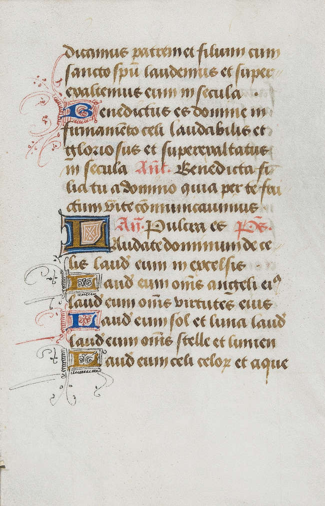 Book of Hours.- Leaf from a Book of Hours, manuscript in Latin, on vellum...