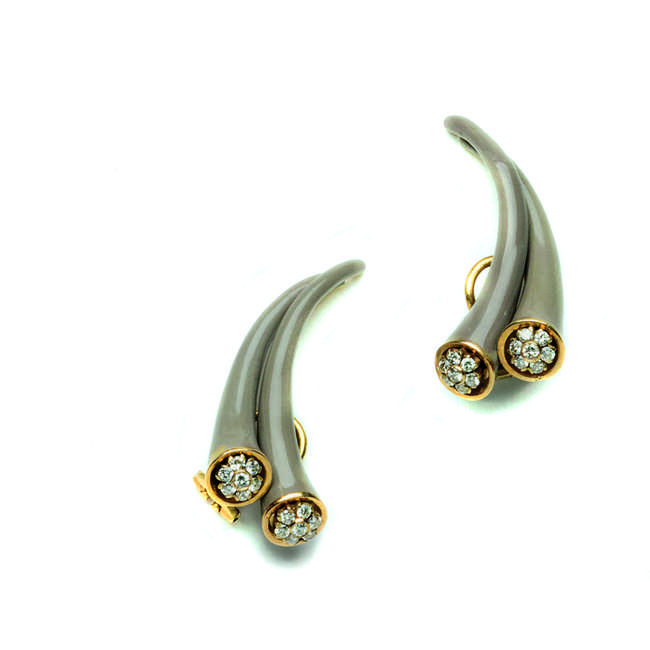 6Diamond and enamel ear clips, Christian Dior