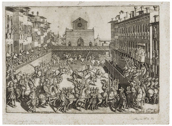 5Orazio Scarabelli (active circa 1589) Jousting tournament in Piazza Sante Croce, May 10th, 1589.