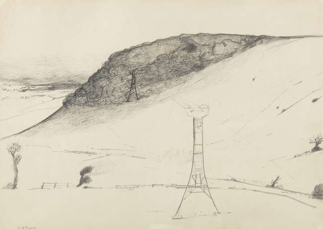 1Edward Burra drawing, Pylons NOT FOR REOFFER