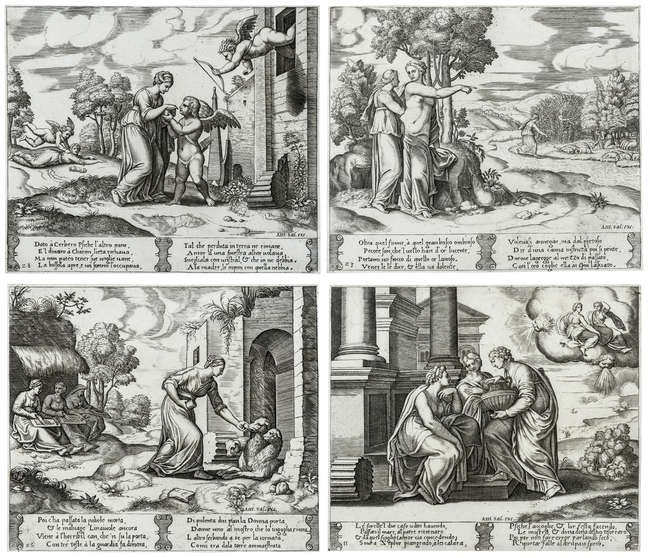 4Master of the Die (fl. 1530-1560) Four scenes from the The fable of Cupid and Psyche, circa 1530-1560.