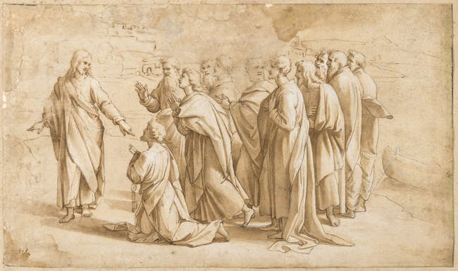 6Follower of Raphael (1483-1520) Christ's Charge to Peter (Matthew 16: 18-19, John 21: 15-17).