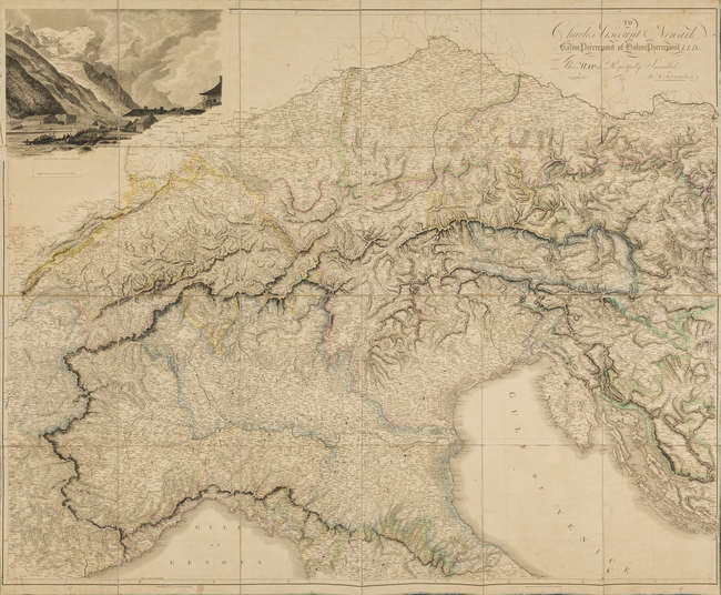 6Alps.- Arrowsmith (Aaron) Map of the Alpine Country in the South of Europe, showing from Florence to Regensberg, and Geneva across to Vienna,