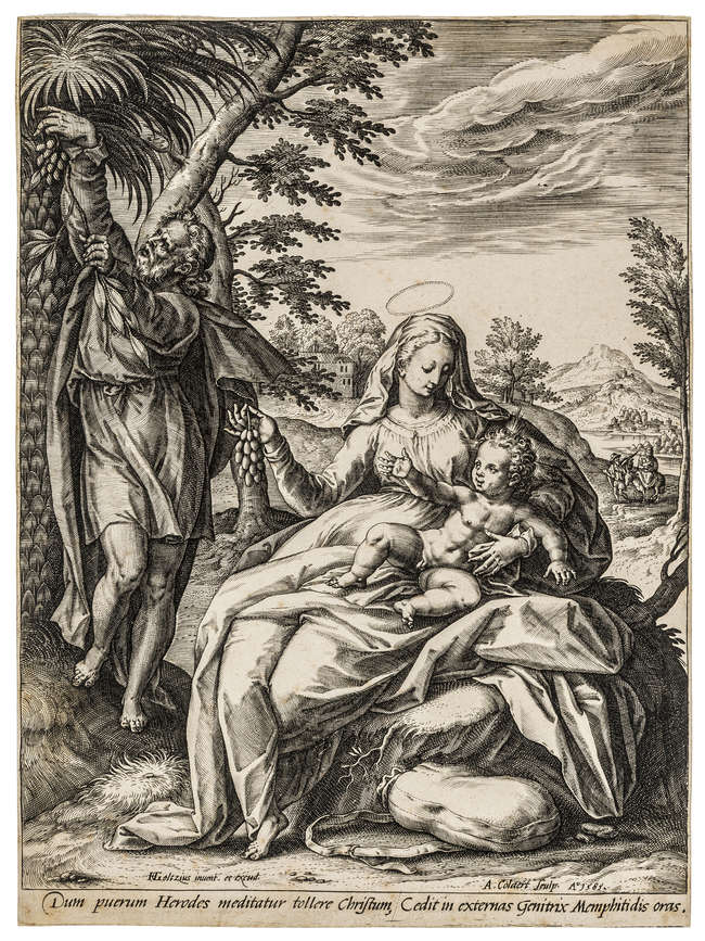8Adriaen Collaert (1560-1618) The Rest on the Flight into Egypt, after Goltzius, 1585.