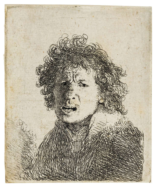10Rembrandt van Rijn (1606-1669) Self Portrait Open-mouthed, as if Shouting: Bust, etching