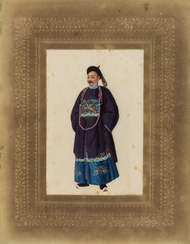 China.- Chinese Export School (mid 19th century) A standing female...