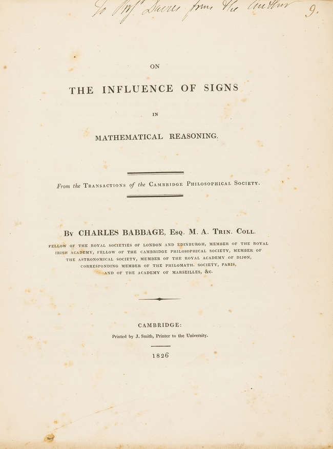 131Babbage, On the Influence of Signs, pres. copy, 1826