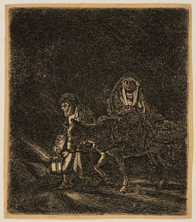 2Rembrandt van Rijn (1606-1669) The Flight into Egypt: A Night Piece, etching and drypoint with light plate tone, 1651.