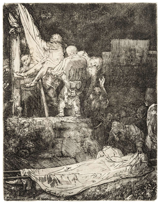 4Rembrandt van Rijn (1606-1669) The Descent from the Cross by Torchlight, etching and drypoint, 1654.