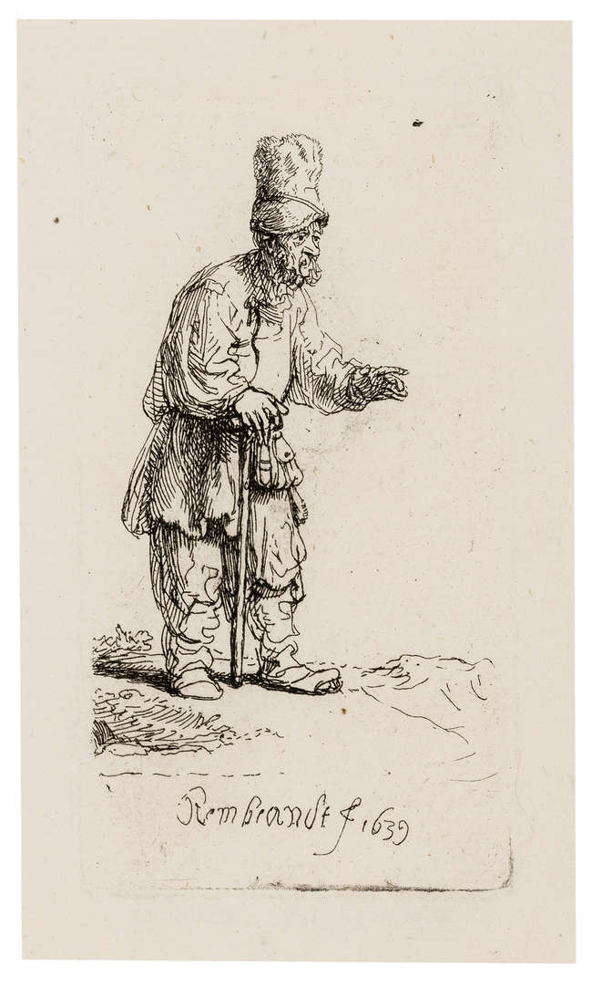 8Rembrandt van Rijn (1606-1669) A Peasant in a High Cap, Standing Leaning on a Stick, etching, 1639.