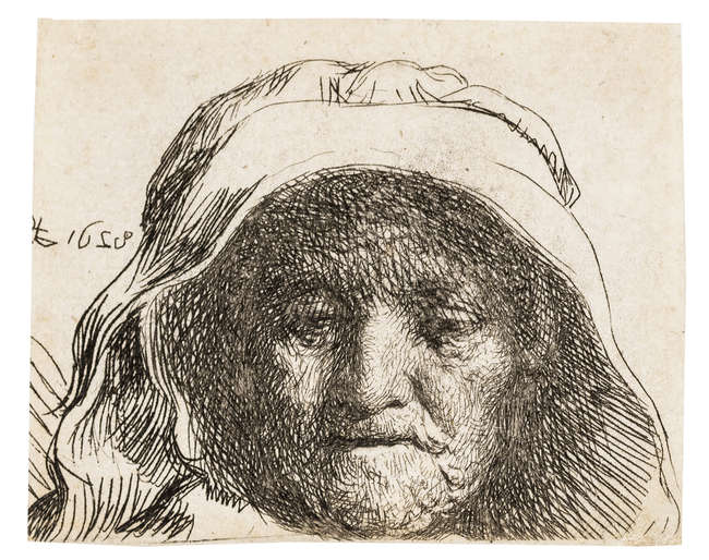 9Rembrandt van Rijn (1606-1669) The artist's mother: head only, full face, etching, circa 1628.