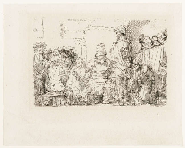 10Rembrandt van Rijn (1606-1669) Christ seated disputing with the doctors, etching with touches of drypoint, 1654.