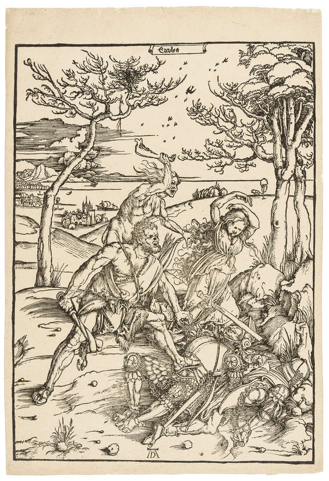 1Albrecht Dürer (1471-1528) Hercules conquering Cacus (Hercules conquering the Molionide Twins), woodcut, [circa 1496 but slightly later].