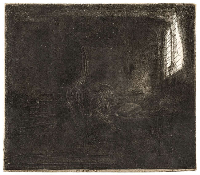 3Rembrandt van Rijn  (1606-1669) St. Jerome in a Dark Chamber, etching with plate tone, 1642.