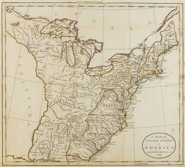 Treaty Of Paris Map 1783.Lot 17 America Guthrie William A Map Of The United States Of