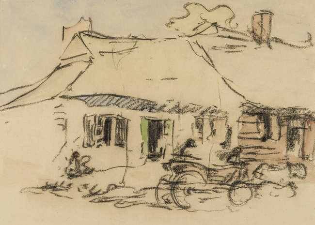 16Bevan (Robert Polhill, 1865-1925) Polish Cottages, black waxed-crayon with watercolour wash.