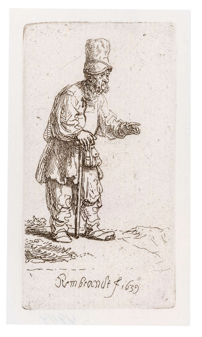 9Rembrandt van Rijn (1606-1669) Peasant in a High Cap, Standing Leaning on a Stick, 1639.