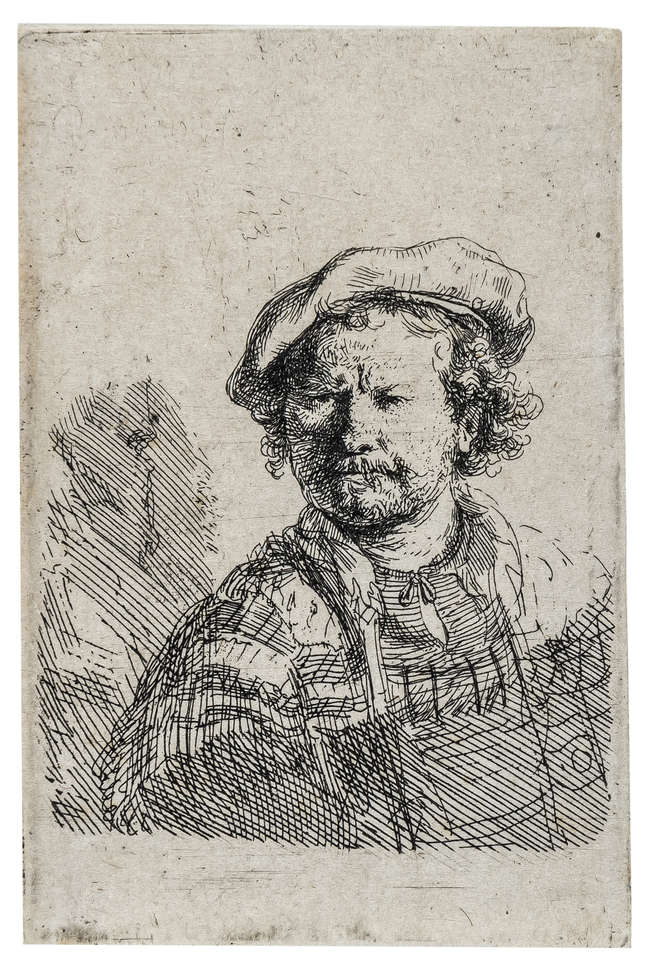 7Rembrandt van Rijn (1606-1669) Self-Portrait in a Flat Cap and Embroidered Dress, circa 1642.