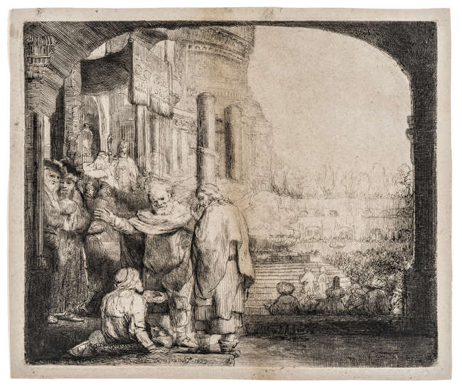 15Rembrandt van Rijn (1606-1669) Peter and John Healing the Cripple at the Gate of the Temple, 1659.