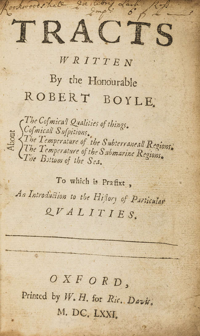 LOT:167 | Boyle (Robert) Tracts    About the Cosmicall