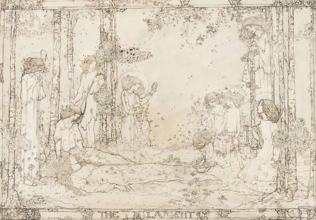 408King (Jessie Marion, 1875–1949) The Lament, pen and black ink on vellum