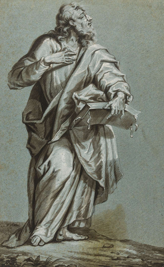7Arnoud van Halen (1650-1732) Bearded saint standing, full-length, looking up to the right, carrying the bible