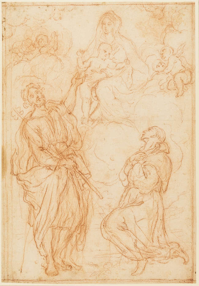 2Roman School (late 17th century) The Madonna and Child appearing to Saint James and a kneeling monk [recto]; Study of a putto [verso] red chalk