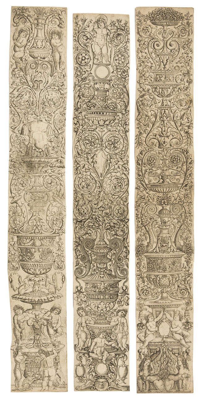 1Giovanni Pietro da Birago (fl. 1470-1513) Three ornamental vertical panels with sphinxes, decorative shields and putti