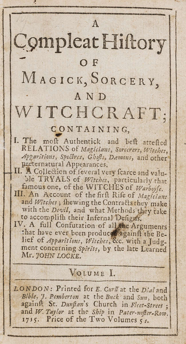 Witchcraft.- [Boulton (Richard)] A Compleat History of Magick, Sorcery, and...