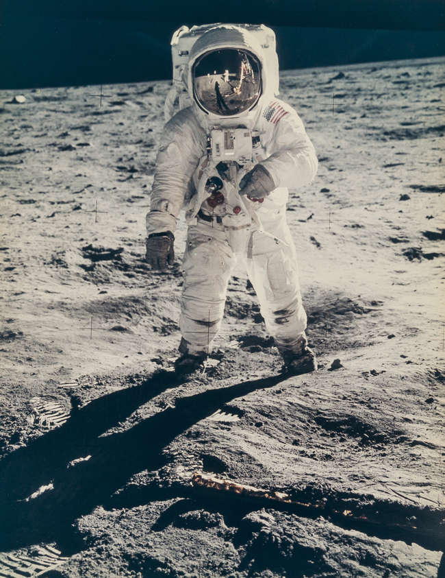 Armstrong (Neil) Buzz Aldrin with the reflection of his shadow, the lunar...