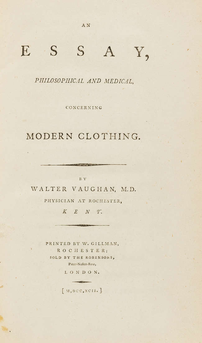 Clothing.- Vaughan (Walter) An Essay, Philosophical and Medical, concerning...