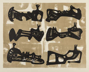2  Henry Moore (1896-1986) Six Reclining Figures with buff background (Cramer 50)