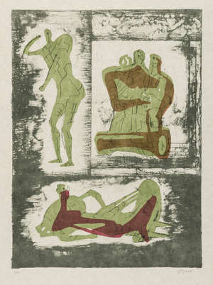 3  Henry Moore (1896-1986) Reclining and Standing Figure and Family Group (Cramer 237)