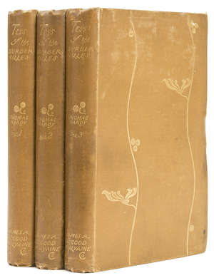 0  Hardy (Thomas) Tess of the d'Urbervilles. A Pure Woman Faithfully Presented..., 3 vol., first edition in book form, first issue, original cloth, 8vo, James R.Osgood, McIlvaine & Co., 1891.