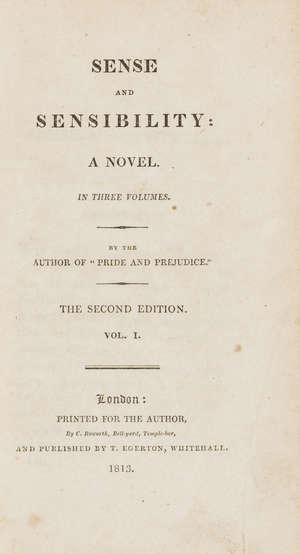 0  Austen (Jane) Sense and Sensibility: A Novel, 3 vol., second edition, near-contemporary red-brown cloth (?publisher's remainder binding), 12mo, Printed for the Author, by C.Roworth...Published by T.Egerton, 1813.