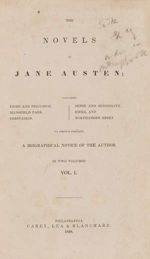 0  Austen (Jane) The Novels, 2 vol. in 1, first collected edition, Philadelphia, Carey, Lea & Blanchard, 1838.