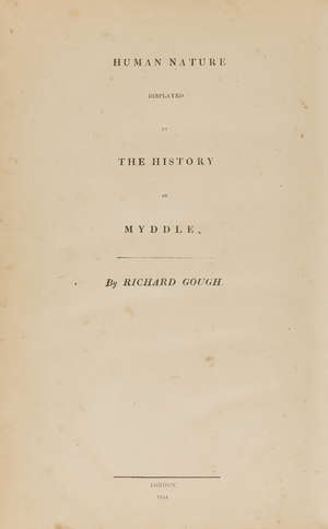 143  Shropshire.- Phillipps (Sir Thomas).- Gough (Richard) Human Nature Displayed in the History of Myddle, first edition, pink Middle Hill boards, folio, privately printed, 1834.