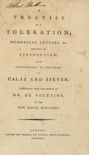 24  Voltaire (Francois Marie Arouet de) A Treatise on Toleration..., 2 parts in 1, contemporary half sheep, 8vo, Fielding and Walker, 1779 & 2 others by Voltaire, 8vo (3)