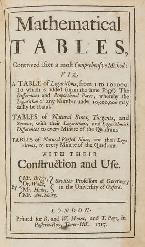85  Mathematics.- [Sherwin (Henry, editor)] Mathematical Tables, contemporary panelled calf, 8vo, for R. & W. Mount, and T.Page, 1717.