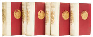 97  Europe.- Coryate (Thomas) Coryat's Crudities, 2 vol., 1905 & Fyne Moryson's Itinerary, 4 vol., 1907-08, both one of of 100 sets on handmade paper, original vellum-backed red pictorial cloth, gilt, 8vo, Glasgow, James MacLehose and Sons (6)