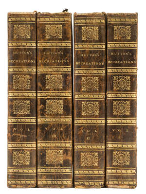 87  Ozanam (Jacques) Recreations in Mathematics and Natural Philosophy, , 4 vol., first English edition, 97 engraved plates on 96 folding sheets, contemporary half calf, spines gilt, 8vo, for G. Kearsley by T. Davison, 1803.