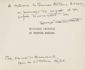 92  China.- Duthuit (Georges) Mystique Chinoise et Peinture Moderne, first edition, signed and inscribed by the author to Princess Antoine Bibesco, original wrappers, oblong 8vo, Paris and London, 1936.