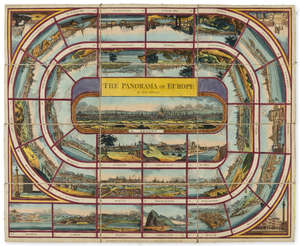 96  Europe.- Board Game.- Wallis (J. & E.) The Panorama of Europe, a New Game, hand-coloured engraved sheet incorporating 40 views of European cities, slip-case, 8vo,  J. & E.Wallis, and J.Wallis Junr., 1815.