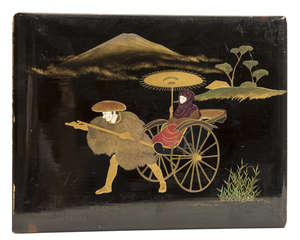 100  Japan.- Photograph Album, 50 hand-coloured albumen prints, contemporary roan-backed black lacquer covers, upper cover with scene of woman in rickshaw in front of Mount Fuji, oblong 4to, [c.1890].