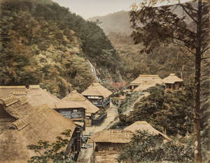 101  Japan.- Photograph Album, 50 hand-coloured albumen prints, contemporary black lacquer covers, [c.1890]; and another red lacquer album of postcards of Japan, oblong 4to (2)