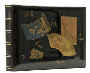 104  Japan.- Wedding Album, contemporary black lacquer covers decorated in gilt and colours, oblong 4to, 1891.