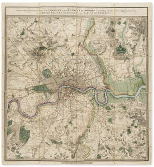 124  London.- Faden (William) A New Topographical Map of the Country in the Vicinity of London, Describing all the New Improvements, Metropolitan Boroughs and Parish Boundaries, 1833.