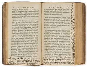 15  Hume (David) Political Discourses, second edition, numerous ink annotations by James Hampton, contemporary calf, 12mo, Edinburgh, R.Fleming, for A.Kincaid and A.Donaldson, 1752.